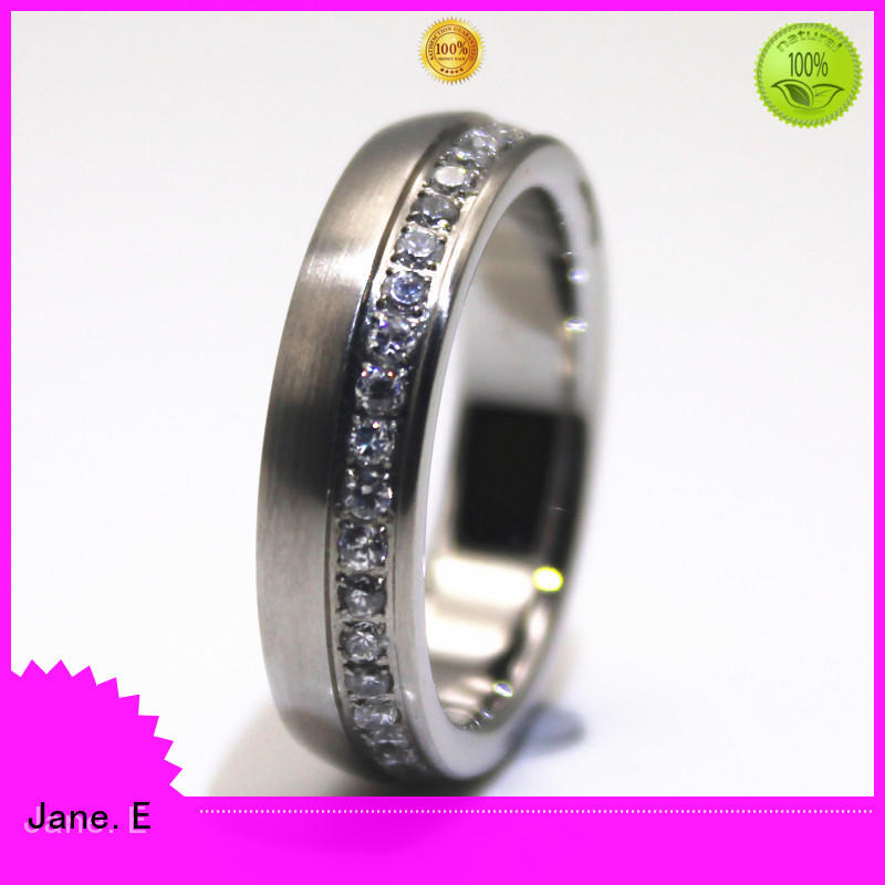 JaneE brown steel band ring comfortable for men