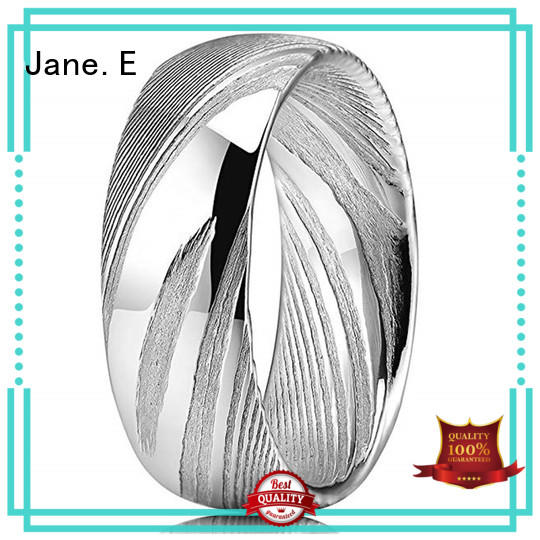 JaneE brushed finish damascus steel ring with wood inlay factory direct for engagement
