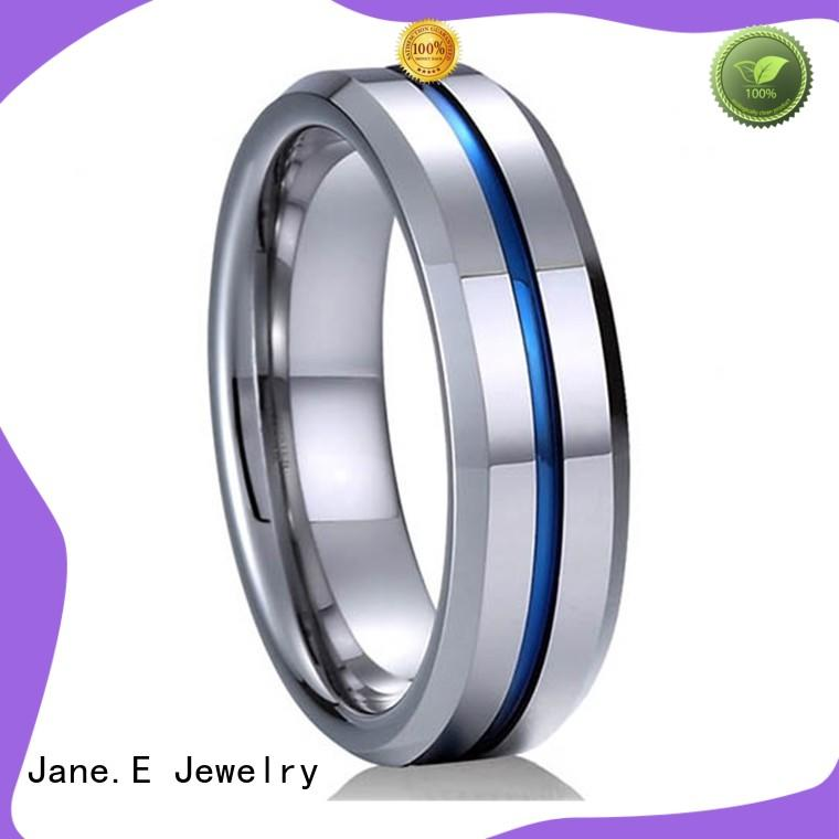 JaneE two tones mens blue tungsten wedding bands matt for gift