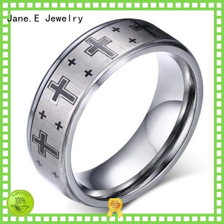 JaneE shiny polished tungsten carbide engagement rings exquisite for gift