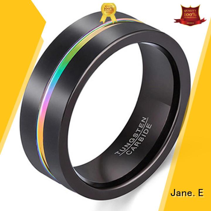 JaneE inlay brushed rose gold tungsten ring matt for wedding