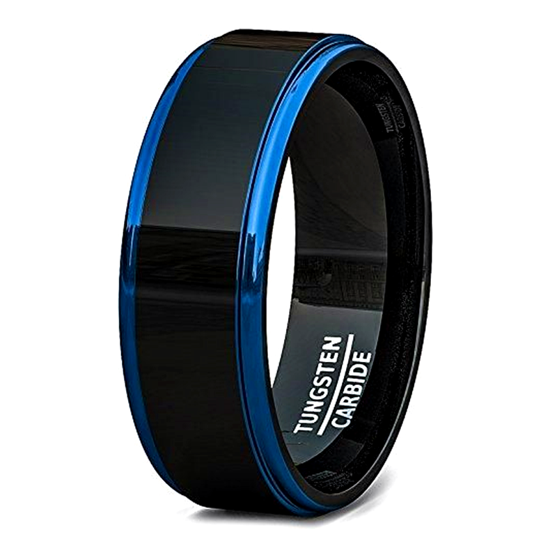 JaneE koa wood black tungsten rings exquisite for engagement-2