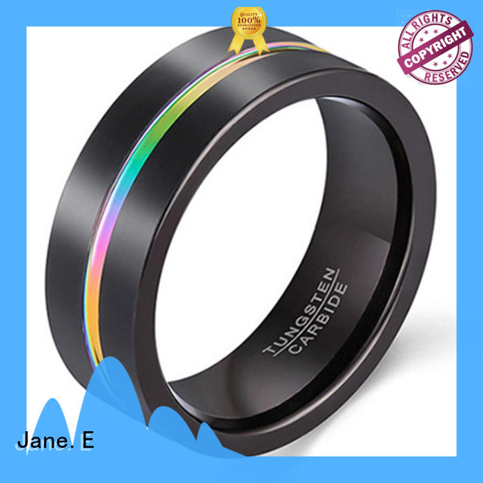 JaneE traditional mens tungsten carbide wedding bands exquisite for engagement