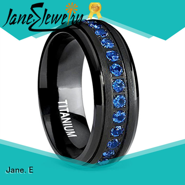 center beveled womens titanium wedding bands factory direct for anniversary JaneE