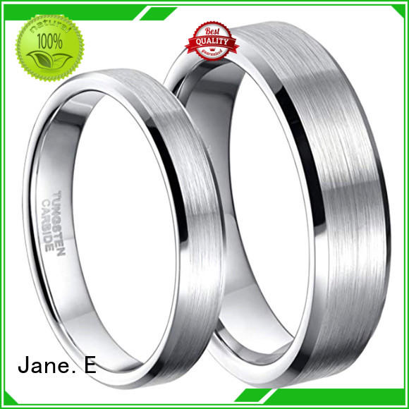 JaneE shiny polished mens tungsten carbide wedding bands exquisite for engagement