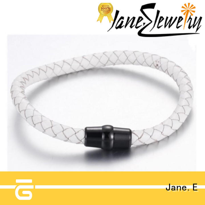 JaneE with genuine leather strap stainless steel bangle exquisite manufacturer