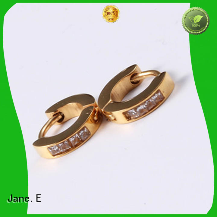 JaneE stylish stainless steel hoop earrings OEM for women