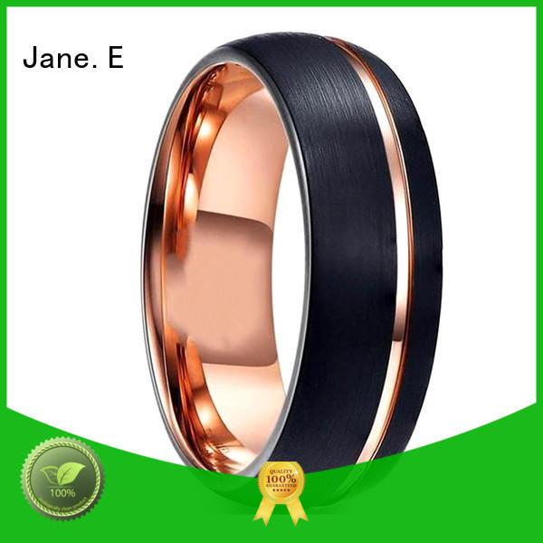JaneE unique design mens black wedding bands engraved for engagement