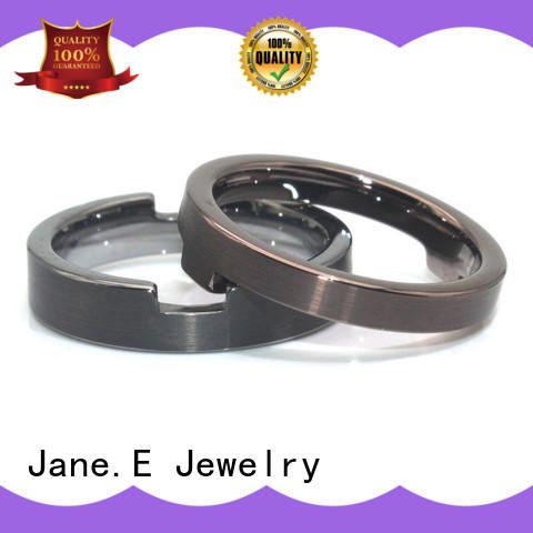 JaneE black stainless steel engagement rings comfortable for decoration