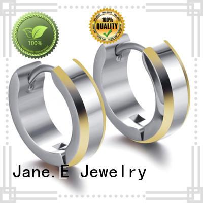 JaneE exquisite titanium earrings hoops big stub bar for women