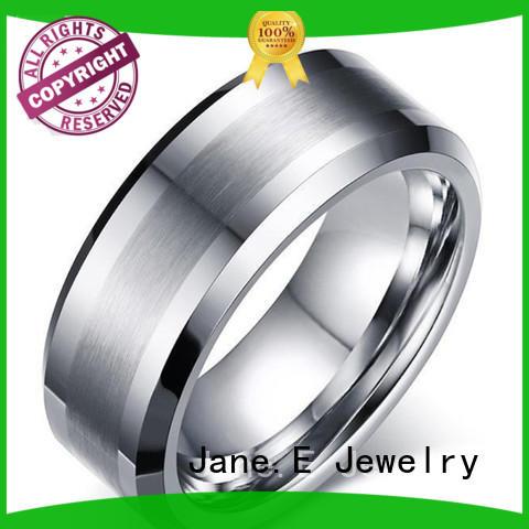 JaneE meteorite tungsten rings for women engraved for wedding