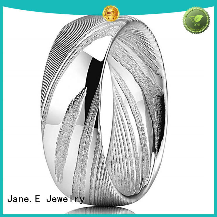JaneE multi colors damascus steel mens wedding band factory direct for wedding
