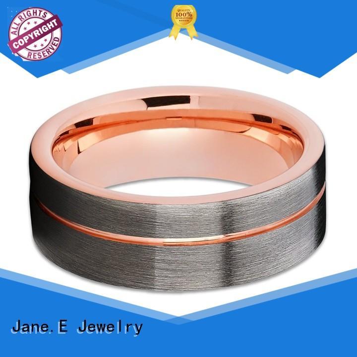 shiny polished tungsten ring inlay brushed matt for wedding
