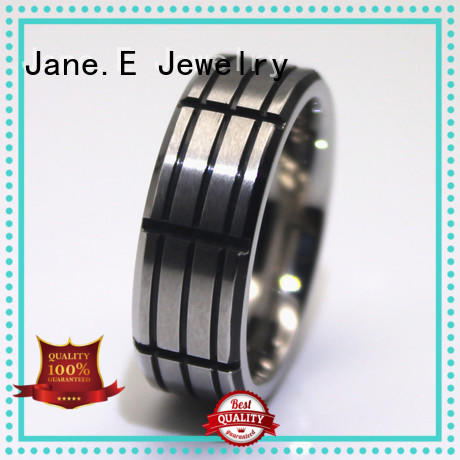 JaneE shiny black stainless steel ring fashion design for weddings