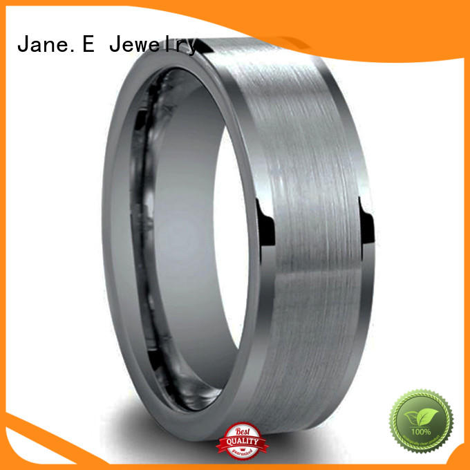 JaneE two tones matching tungsten wedding bands engraved for engagement