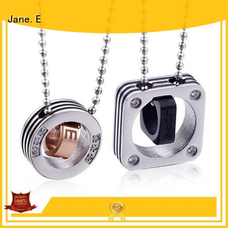 JaneE letter engraved black stainless steel necklace factory direct manufacturer