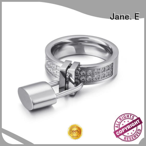 JaneE square edges stainless steel wedding bands comfortable for decoration