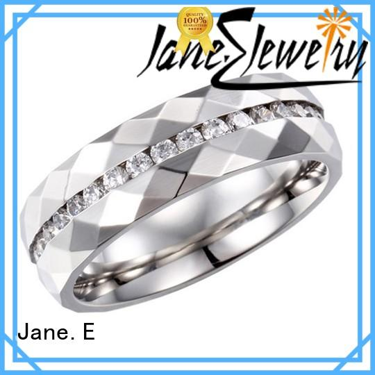 JaneE factory direct ladies stainless steel rings multi colors for men