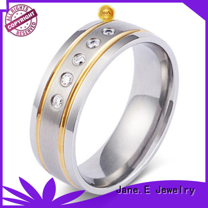hypoallergenic titanium ring polished edge simple for engagement
