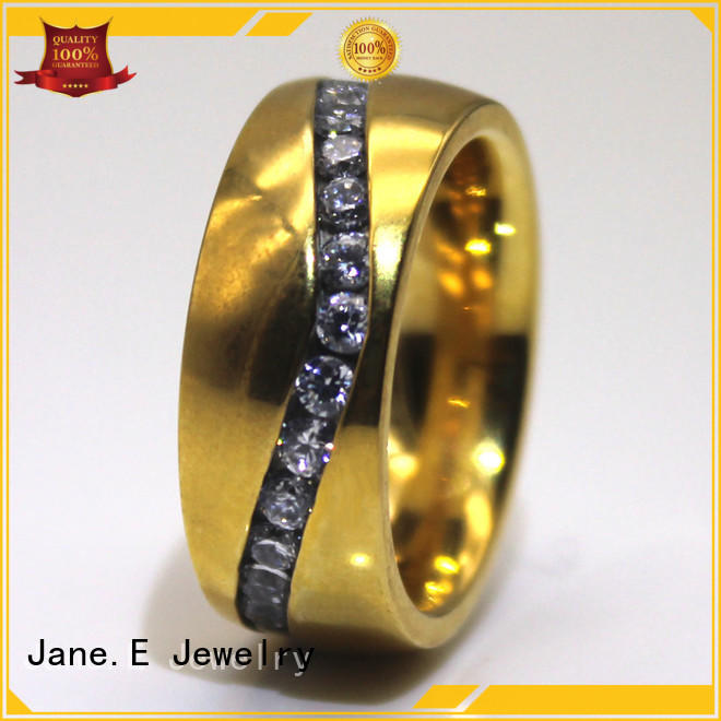 JaneE black hammered steel ring top quality for men