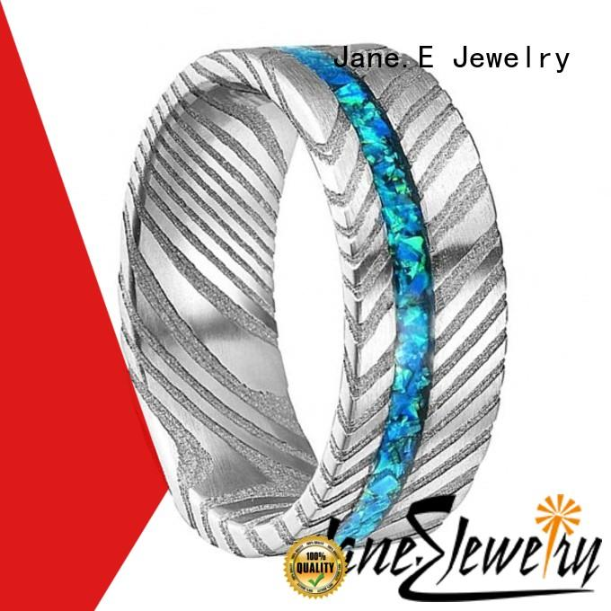 JaneE IP black plated damascus steel wedding ring factory direct for inlay