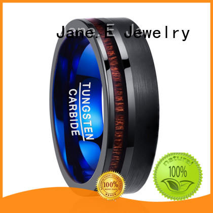 shiny polished mens tungsten ring damascus texture engraved for engagement