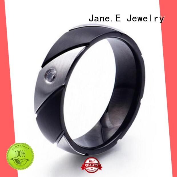 JaneE shiny men's wedding band top quality for men