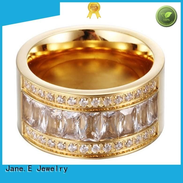 JaneE customized women's stainless steel wedding rings 18k gold for decoration