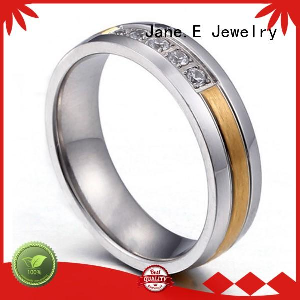 JaneE customized stainless steel wedding band top quality for weddings