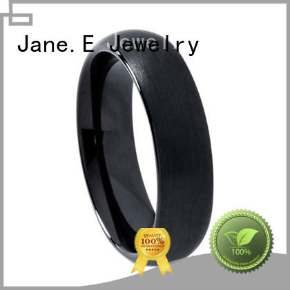 JaneE shiny polished custom tungsten carbide rings two tones for wedding