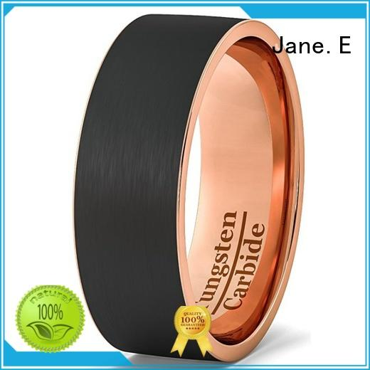 JaneE koa wood tungsten engagement rings engraved for engagement