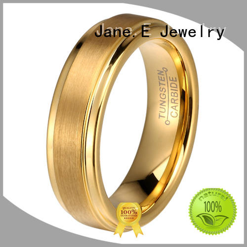 JaneE damascus texture tungsten carbide gold ring exquisite for gift