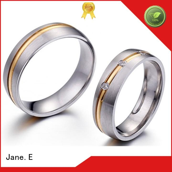 JaneE shiny custom stainless steel rings top quality for men