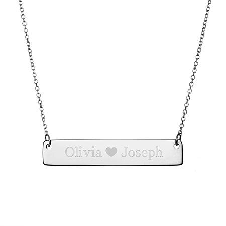 Custom Men Women Engraved Name 316L Stainless Steel Bar Charm Necklace-3