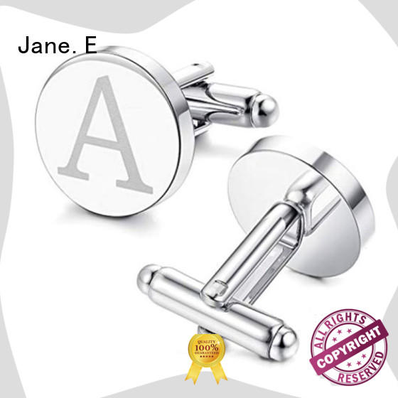 JaneE laser engraved stainless steel cufflink for gifts