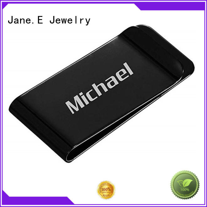 JaneE wood inlay personalized money clip personalized for men's wallet