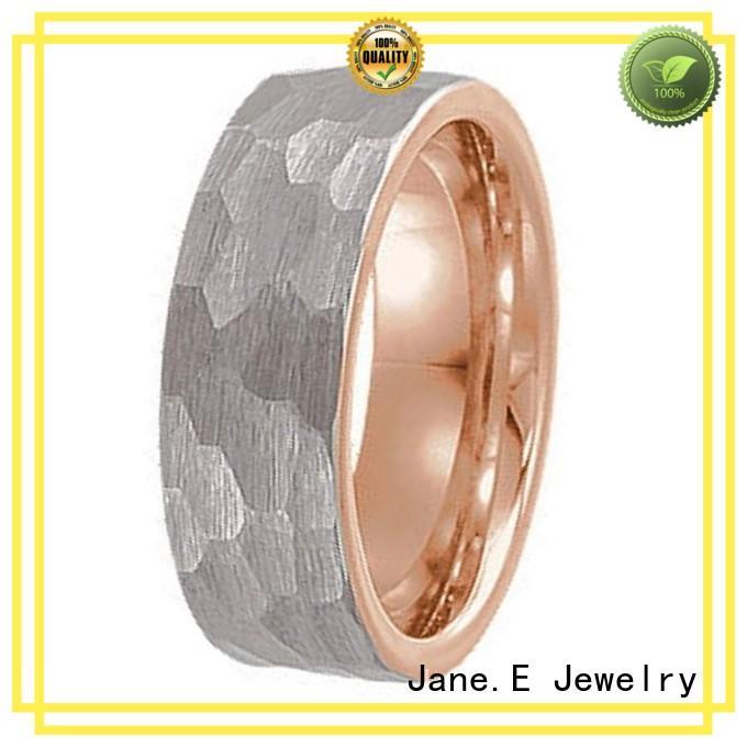 JaneE koa wood black tungsten ring exquisite for wedding