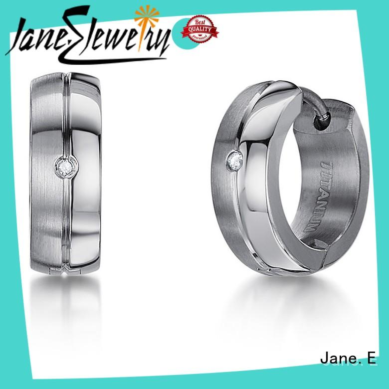 JaneE exquisite titanium stud earrings classic style for women