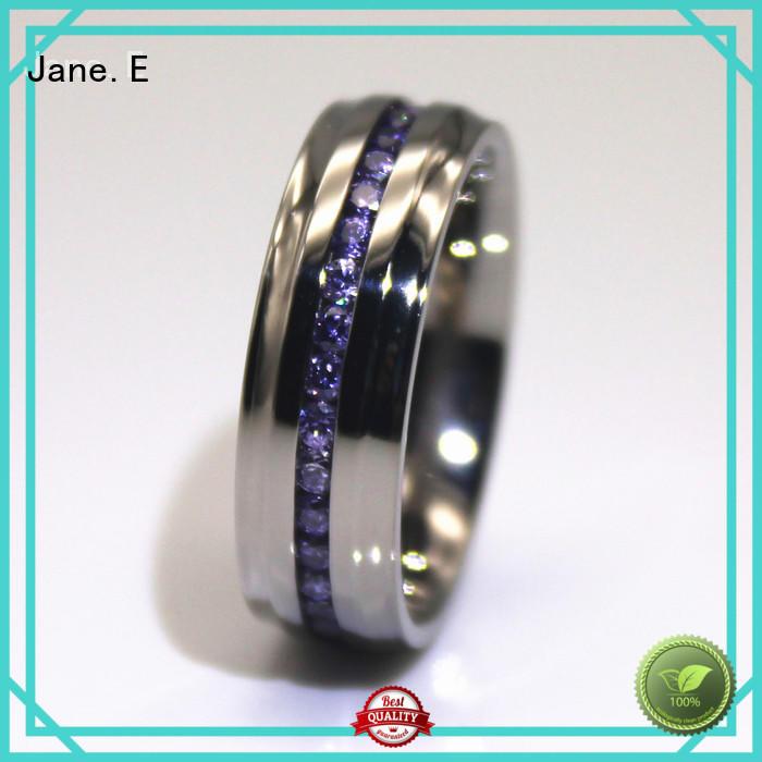 JaneE AAA CZ Stones simple stainless steel rings top quality for weddings