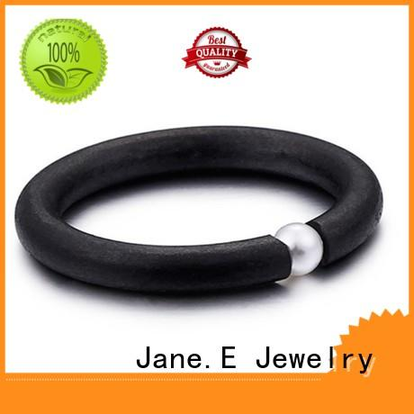 JaneE blue black stainless steel mens ring fashion design for decoration