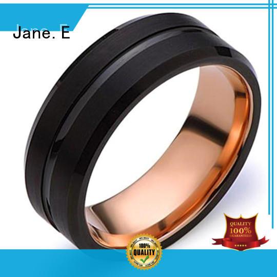 JaneE meteorite gold tungsten ring matt for wedding