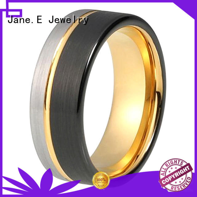 JaneE koa wood tungsten carbide engagement rings exquisite for wedding