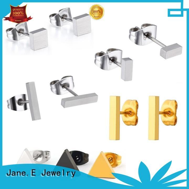 JaneE traditional titanium earrings for sensitive ears big stub bar for women