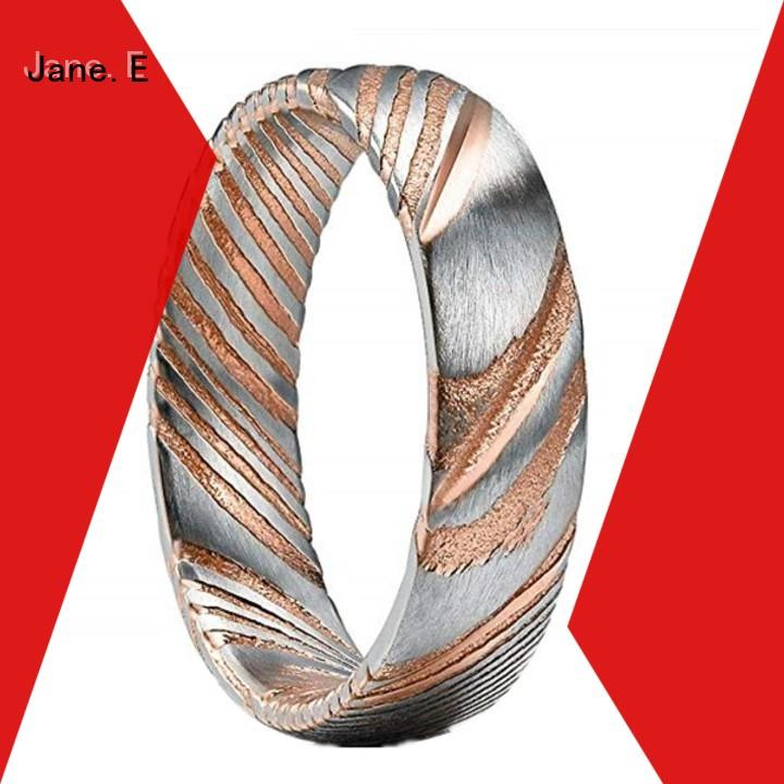 JaneE multi colors damascus steel mens wedding ring wholesale for engagement