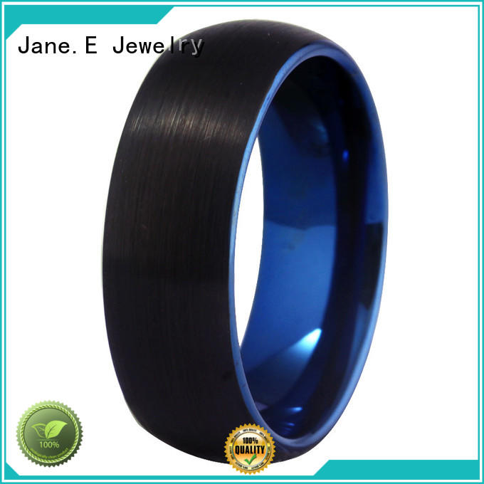 JaneE damascus texture tungsten carbide rings matt for gift