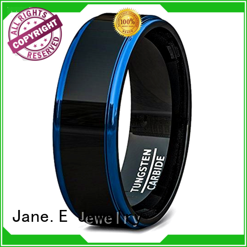 JaneE shiny polished two tone tungsten wedding bands damascus texture for engagement