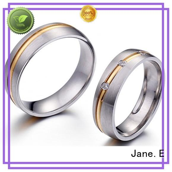 square edges stainless steel band rings fashion design for men JaneE
