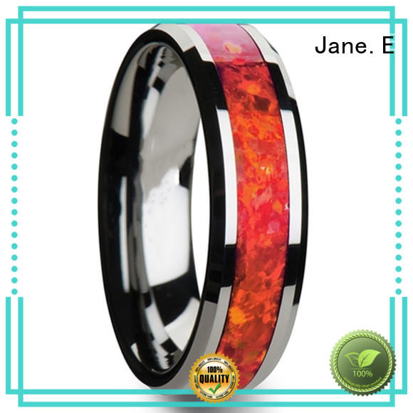 JaneE traditional mens gold tungsten wedding bands engraved for wedding
