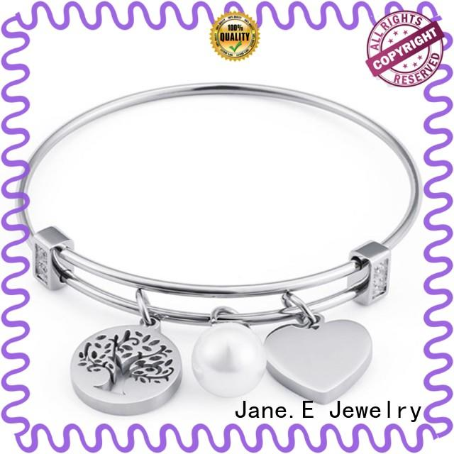 JaneE manual polished stainless steel bangle bracelets exquisite manufacturer