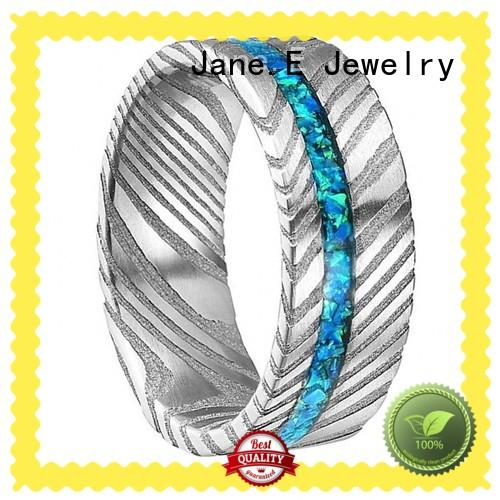 JaneE flexible damascus steel wedding band mens wholesale for inlay